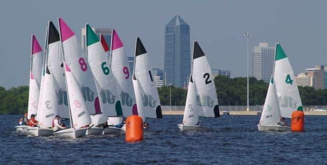 (Photo by Jon Faudree) The Jacksonville University sailing team qualified for nationals by winning the South Atlantic Intercollegiate Sailing Association Spring Nationals, held in April on the St. Johns River.