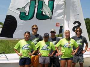 (Photo by Jon Faudree) Jacksonville University sailing team members (from left) Mara Strobel-Lanka, Danny Lawless, Hannah Knighton, Ian Ikeda, Victoria Caba and Peter Hidley are heading to nationals this week.