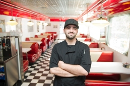 Georgie's Diner general manager and head chef Andrew Lorigo, stands inside the retro-inspired restaurant on Thursday, April 13, 2017. (Christina Kelso/ The St. Augustine Record)