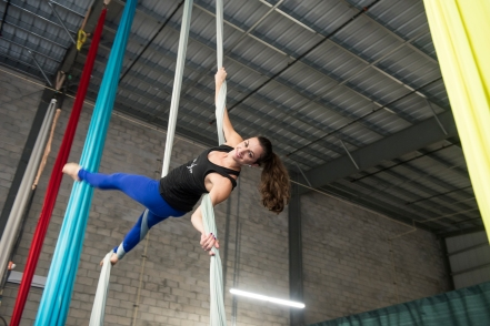 Laura Atkins, founder of Aerial Athlete, performs during an aerial fabric class in her St. Augsutine Shipyard studio on Wednesday, September 6, 2017. (Christina Kelso/ The St. Augustine Record)