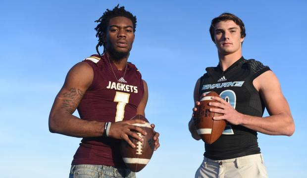 Defensive Player of the Year St. Augustine senior Jacoby Feliciano, left, and Offensive Player of the Year Ponte Vedra senior Nick Tronti. (Christina Kelso/ The St. Augustine Record)