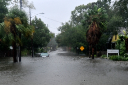 Floodwater submerges a car parked on Cincinnati Avenue in St. Augustine on October 8, 2016, in the morning following Hurricane Matthew. (Christina Kelso/ The St. Augustine Record)