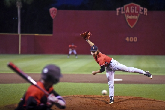 Flagler senior Michael Maiocco pitches in a game against University of Tampa at Drysdale Field on Friday, March 3, 2017. (Christina Kelso/ The St. Augustine Record)