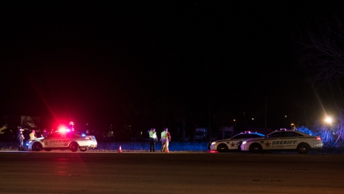 Florida Highway Patrol and St. Johns County Sheriff's Office officials respond to the scene of a crash on U.S. 1 at approximately 10 p.m. on Tuesday, September 19, 2017, in which 58-year-old pedestrian Elaine Satkowski was hit and killed while attempting to cross the highway. (Christina Kelso/ The St. Augustine Record)