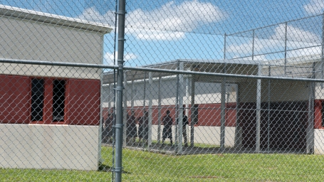 Teens line up inside the fenced in grounds of Hastings Youth Academy on Friday, June 9, 2017. The Department of Juvenile Justice facility, which is run for the state by a private firm, has experienced three escapes since April. (Christina Kelso/ The St. Augustine Record)