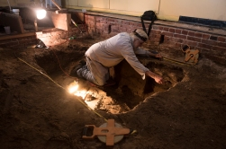 City Archaeologist Carl Halbirt wraps up the final day of an excavation inside a storefront on the bottom floor of 1 King Street, the downtown building housing A1A Aleworks, on Thursday, April 27, 2017, where he and a team of volunteers have identified the skeletal remains of approximately 30 individuals from the early colonial period. Halbirt has led the excavation since February, when property owner David White invited him to dig beneath the floors, which were undergoing repairs from damages sustained in Hurricane Matthew. The burial site included evidence of cremations occurring during the early colonial period in St. Augustine and gave insight into where the eastern boundary of the city's first parish church, Nuestra Senora de Los Remedios, was located. Recovered skeletal and cremation remains are being sent off to the University of Florida for analysis, DNA testing and radiocarbon dating. Once analysis is finished, the bones will be returned to the Catholic Church for re-internment. (Christina Kelso/ The St. Augustine Record)