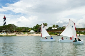 Children sail across Salt Run near Lighthouse Park on Tuesday, June 13, 2017, while participating in the St. Augustine Yacht Club's summer Junior Sailing Camp. Sailors, ages 7 to 15, spend a week learning the sport in the hands-on program, which started on Memorial Day and runs through early August. (Christina Kelso/ The St. Augustine Record)