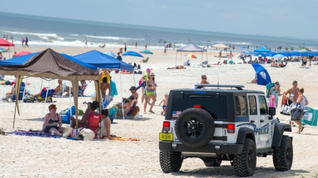 The St. Augustine Beach Police Department patrols St. Augustine Beach on Saturday, July 1, 2017. Anticipating a heavy influx of visitors through the Fourth of July, local public safety officials have increased the presence of deputies and emergency responders across the county and on the beaches. (Christina Kelso/ The St. Augustine Record)