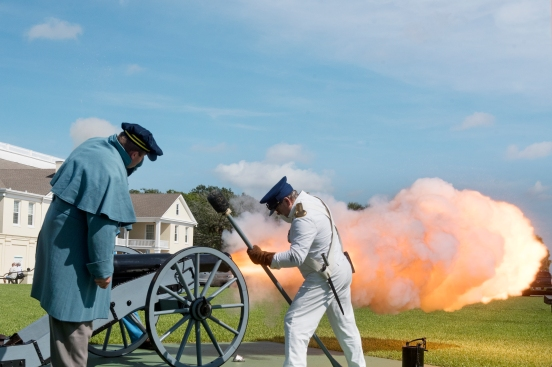 Living history re-enactors fire a canon salute outside of St. Francis Barracks on Saturday, August 12, 2017, at the start of the tenth annual commemoration of the 1842 parade and ceremony that closed the Second Seminole War and honored those who died in the bloody seven-year conflict on Saturday, August 12, 2017. (Christina Kelso/ The St. Augustine Record)