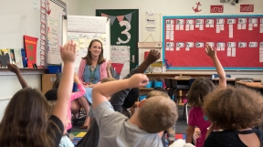 Amber Elder discusses bats with her first grade class at John A. Crookshank Elementary School, following a reading assignment about the animals, on Thursday, October 19, 2017. (Christina Kelso/ The St. Augustine Record)